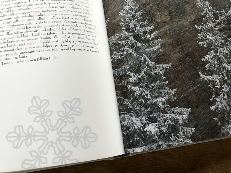 Lumihiutaleita tekstisivulla ja kuusten oksilla